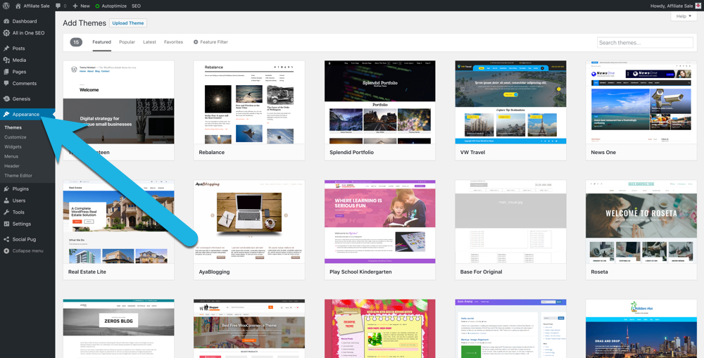 "screenshot of the ""Add Themes"" area of your WordPress dashboard, with snippets of 12 different free WordPress themes"