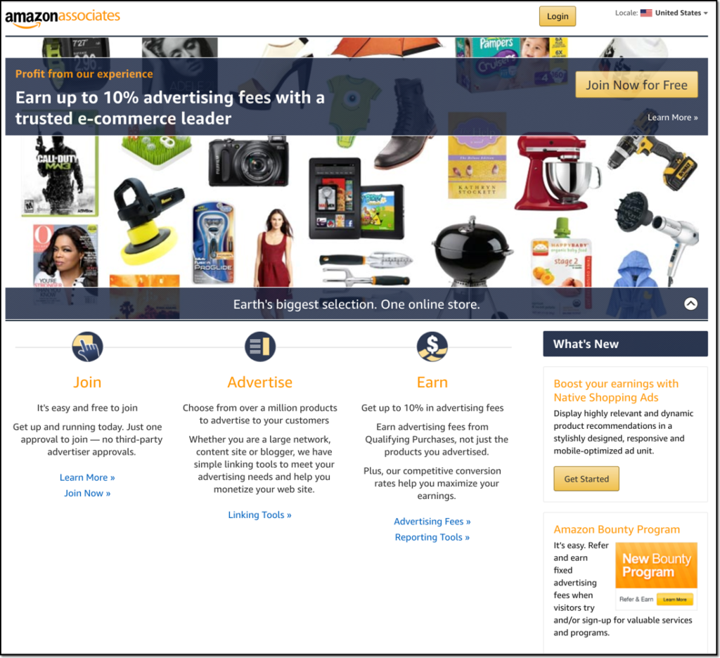 Amazon Associates affilaite program page screenshot