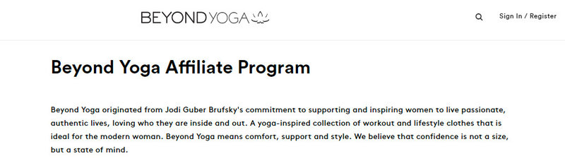 beyond yoga affiliate signup page