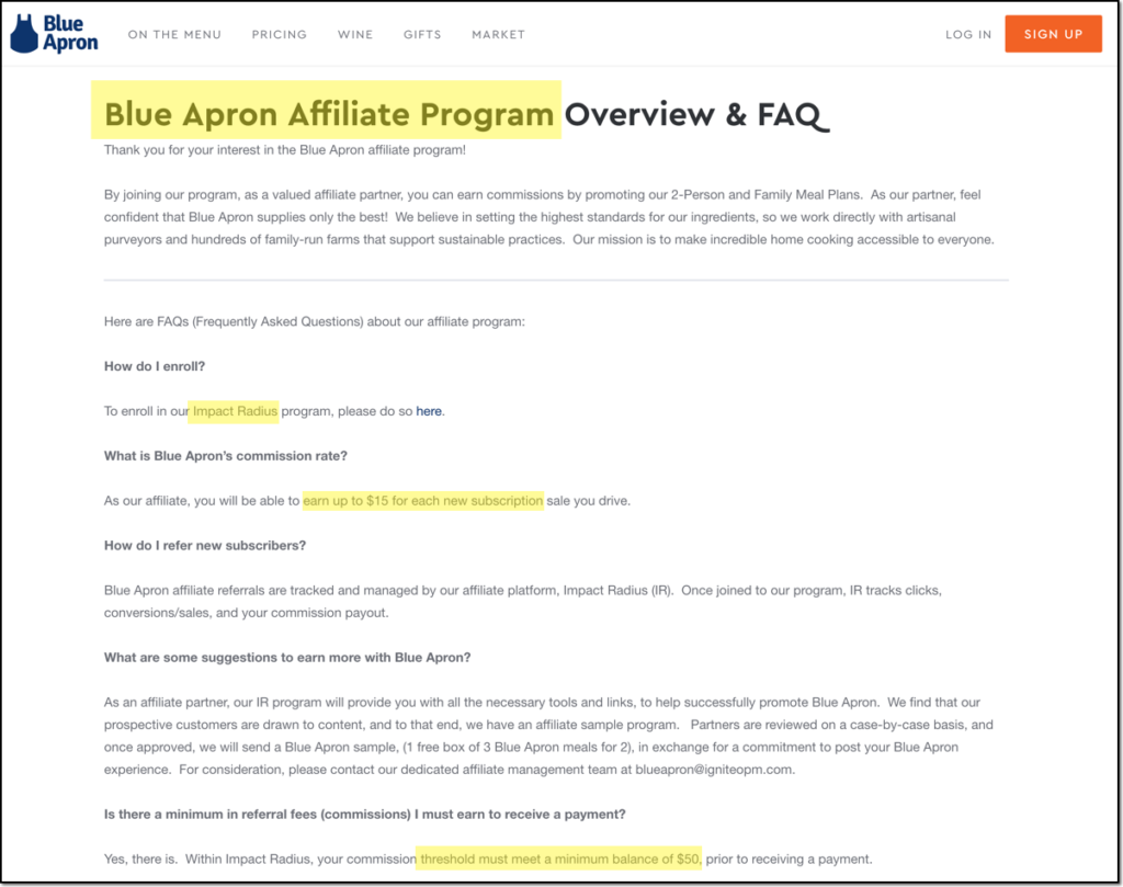 blue apron affiliate sign up page, hosted by Impact, with affiliate payout rates and other legal details