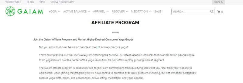 gaiam affiliate signup page