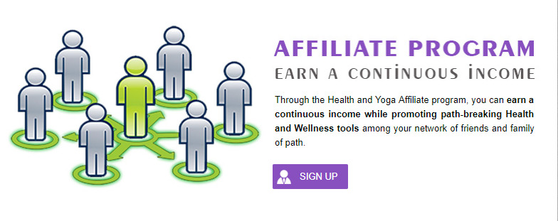 health and yoga affiliate signup page