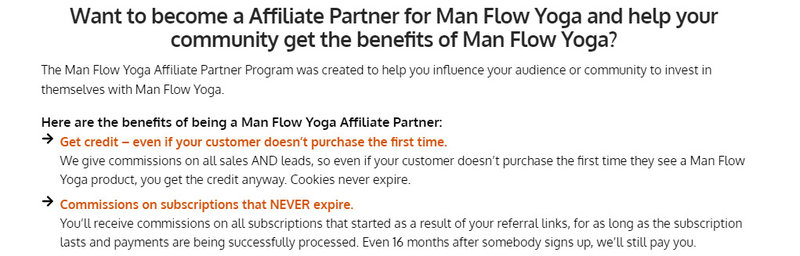 man flow yoga affiliate signup page