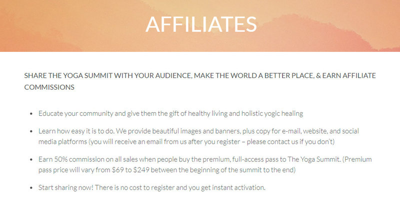the yoga summit affiliate signup page