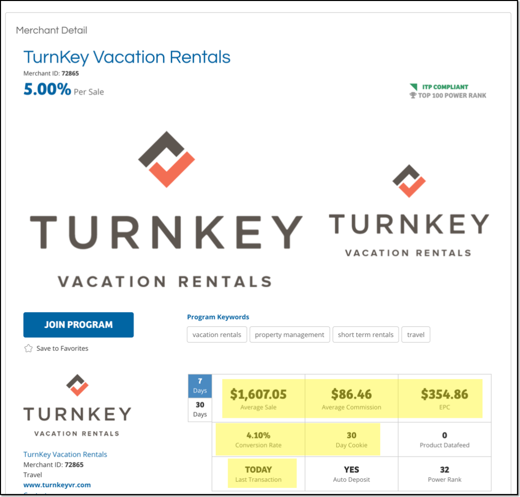 Turnkey Vacation Rental affiliate signup page including average sale amount, average commission, and EPC
