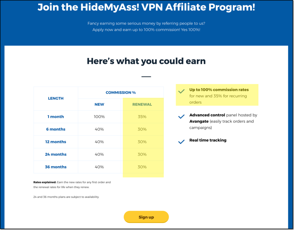 HideMyAss affiliate program sign up rate with recurring commission rates highlighted