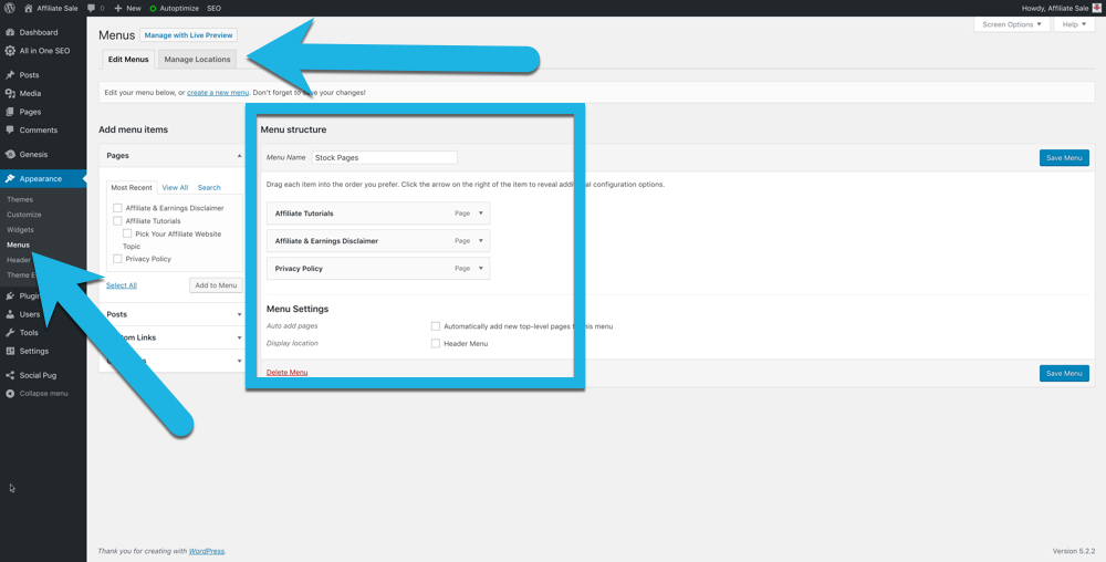 screenshot of the WordPress custom menu area with arrows pointing how to navigate to and customize menus
