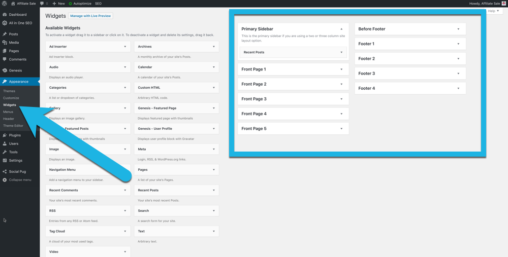 screenshot of the widget area in your WordPress dashboard