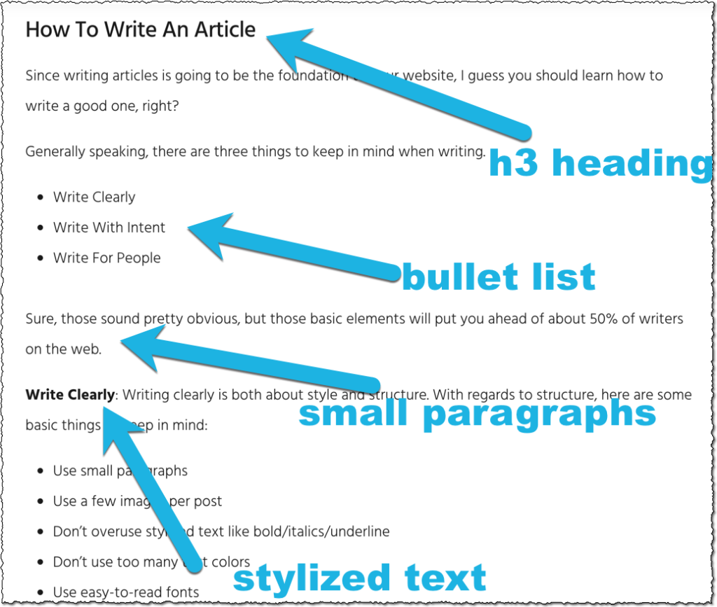example article to be published on Affiliate-Sale.com including an h3 title, bullet points, and bold text