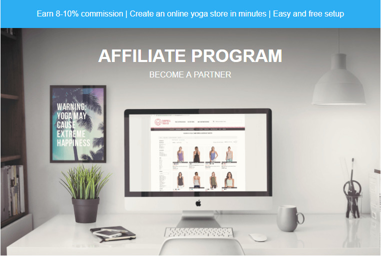 yoga outlet affiliate signup page