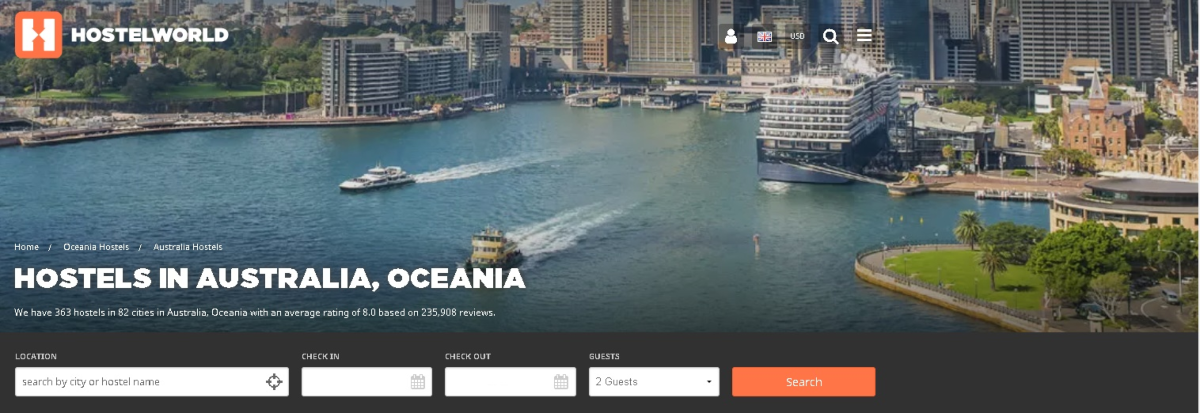 Hostel World has an affiliate program suited to bloggers focusing on budget travel or nomad lifestyles. This is a screenshot of the landing page for Australian hostels showing they have 363 hostels in 82 cities, just in Australia.