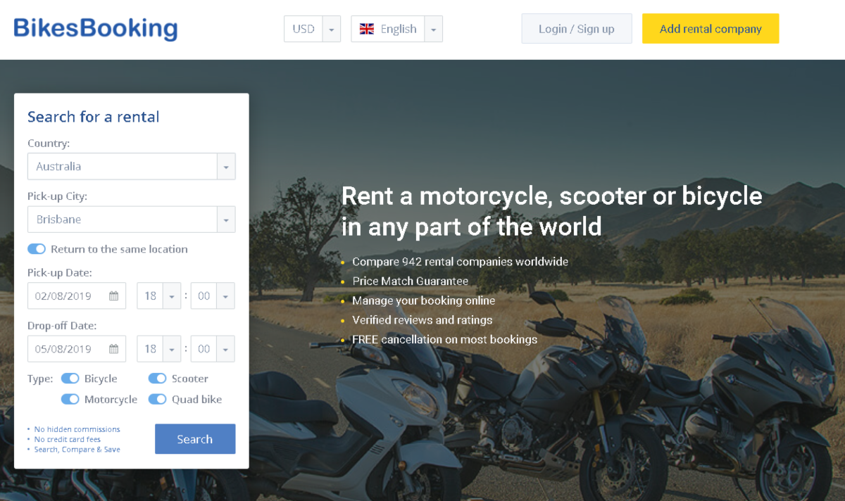 This is a screenshot of the Bikesbooking.com website. Affiliates can earn commissions on bikes rented by people want to travel Australia by bike instead of a car.