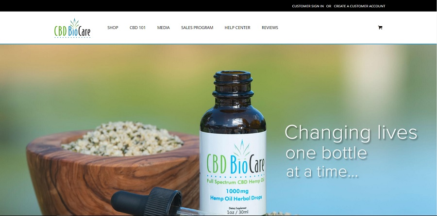 Homepage of CBD-BioCare website