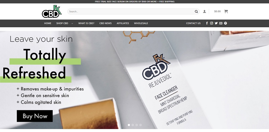 Home page of CBD FX website