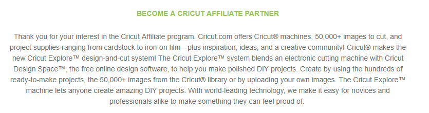Cricut affiliate signup page