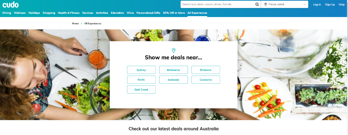 This is a screenshot of Cudo.com.au which is a deal based site exclusively for Australia and is suited to daily deal affiliates with coupon sites or voucher websites.