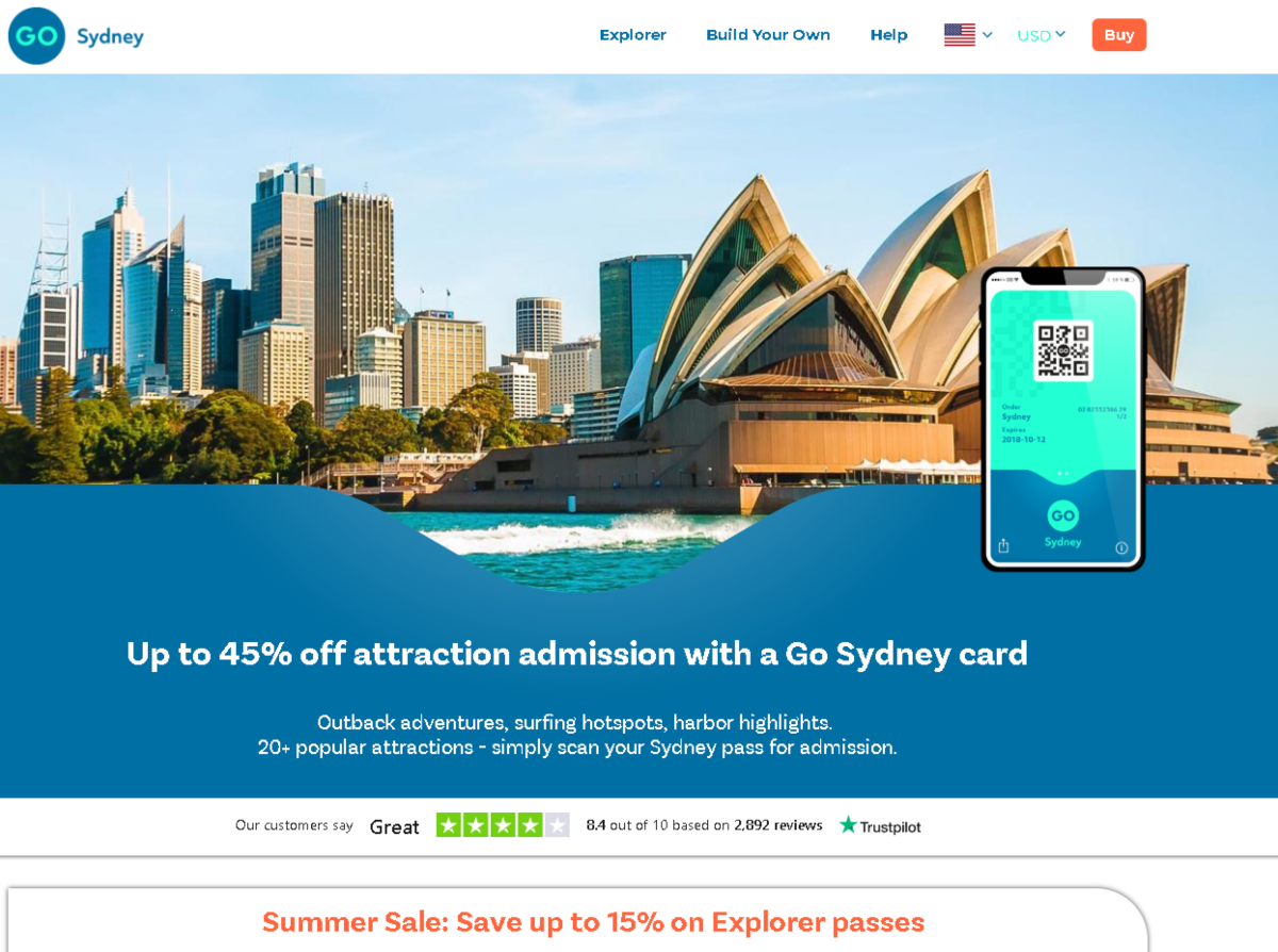 Screenshot of the Go Sydney web page where tourists visiting Sydney Australia can buy passes to various attractions at substantial discounts.