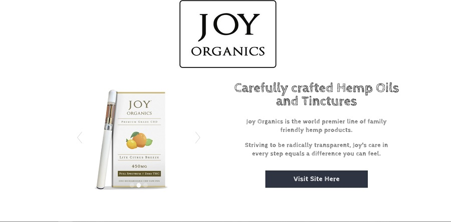 Home page of JOY Organics website