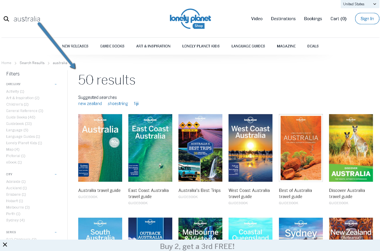 This is a screenshot of the Lonely Planet store showing 50 results for Australian travel guide books.