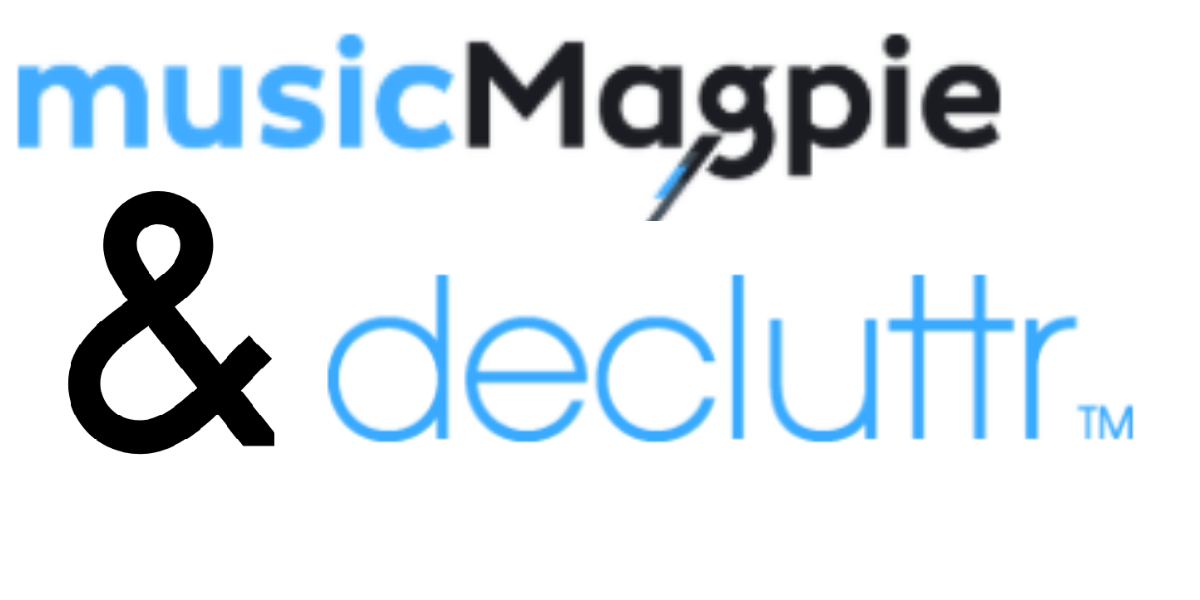 Music Magpie and DeCluttr (TM) logos merged together.