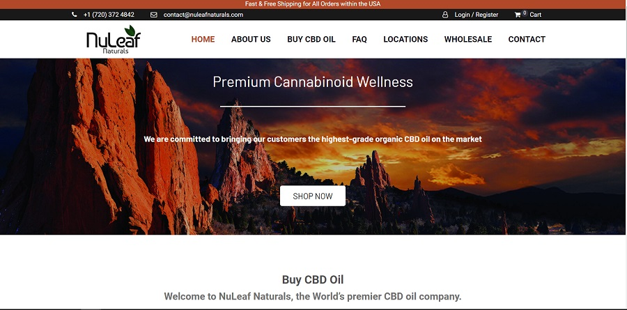 Homepage of Nuleaf Naturals website