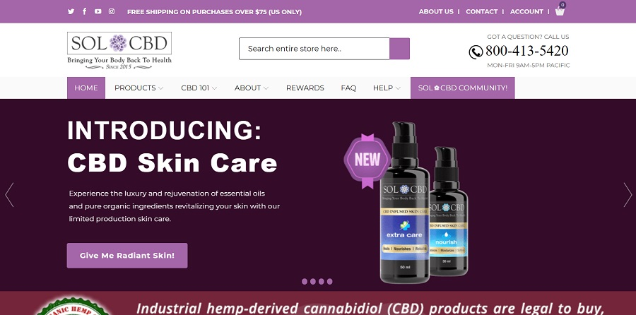 Home page of SOL CBD website