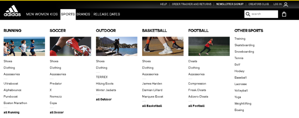 This is a screenshot of the Adidas website with the Sports category highlighted. Website owners are able to use the Adidas affiliate program to promote any of 3,500 sports merchandise through the affiliate program for up to 7% commission