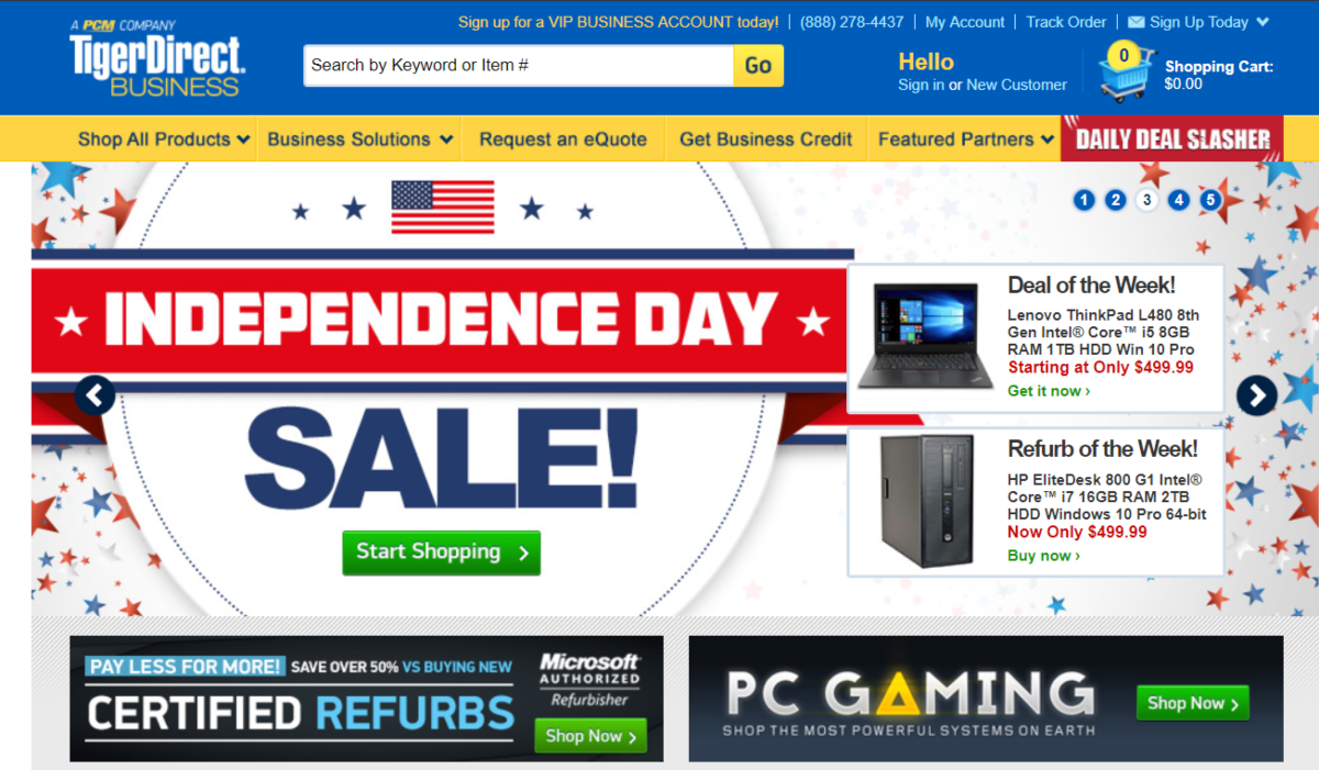 This is a screenshot of the Tiger Direct website. They have a PC gaming affiliate program with pre-built towers and various parts available.