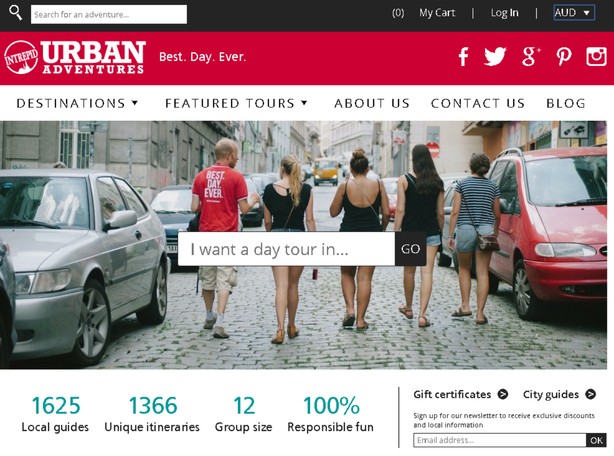 This is a screenshot of the Urban Adventures website. They have an affiliate program letting bloggers earn by selling experience days accompanied by a local tour guide. They have hundreds of itineraries unique to Australia.