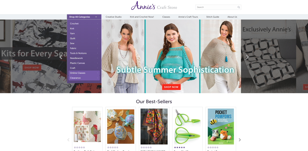 annies craft store home page screenshot
