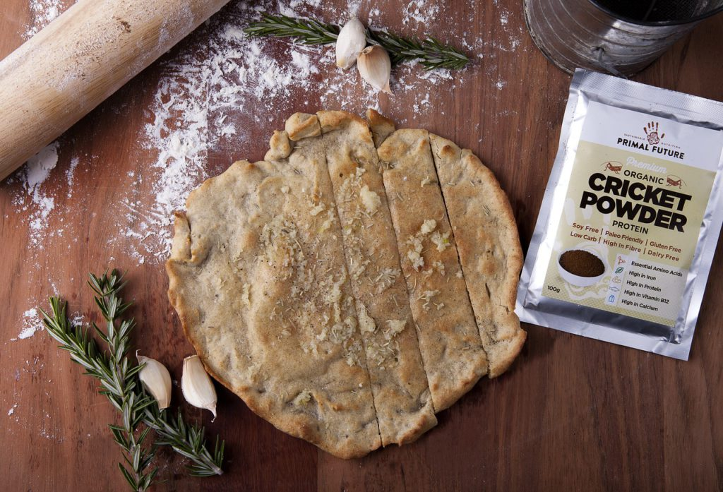 cricket powder from primal future with flatbread made from cricket flour