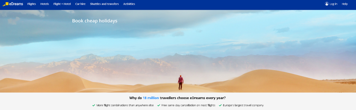 This is a screenshot of the edreams.com.au website where affiliates can send people to book cheap flights or package holidays in Australia and be paid a commission on bookings made.