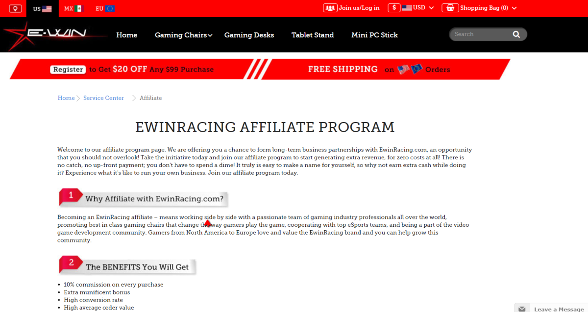 Ewin Racing sell precision designed gaming chairs. This is  a screenshot taken of the ewin-racing chair affiliate program.