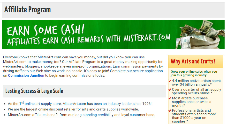 mister art affiliate signup page