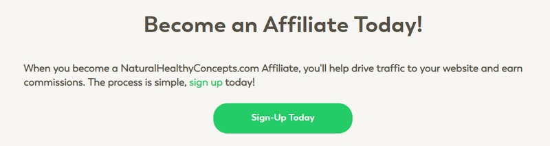 natural health concepts affiliate signup page