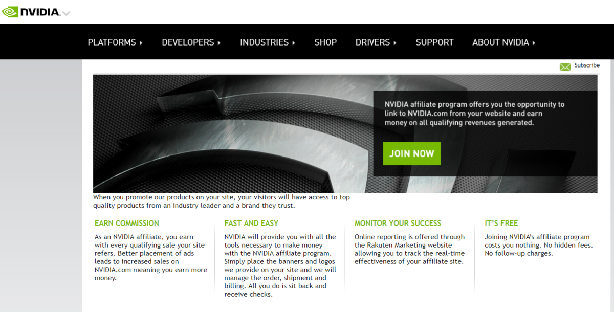 Screenshot taken from nvidia.com encouraging publishers to sign up the nvidia affiliate program to start earning from sales of NVIDIA products.
