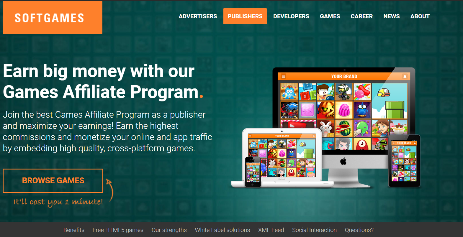 Soft Games have an HTML 5 Gaming affiliate program. This is a screenshot of their partner page on the official website.
