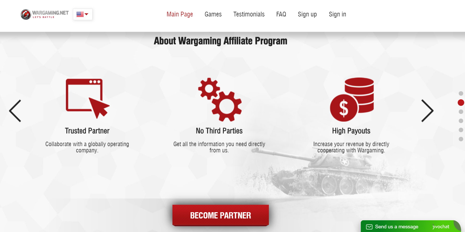 screenshot from wargaming.com encouraging gamers to sign up to the war gaming affiliate program.