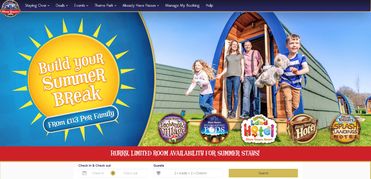 Screenshot of the Alton Towers Official Website showing a family  of four people enjoying the newly installed star-gazing pods