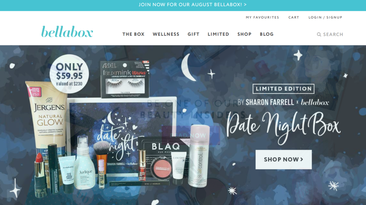Screenshot of Bellabox Australia. A makeup and cosmetics online store with subscription beauty boxes shipped monthly.