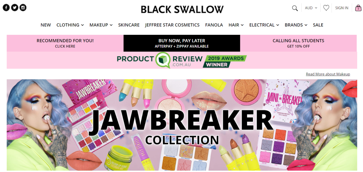 Screenshot of the makeup selections from Australia's Black Swallow boutique online store