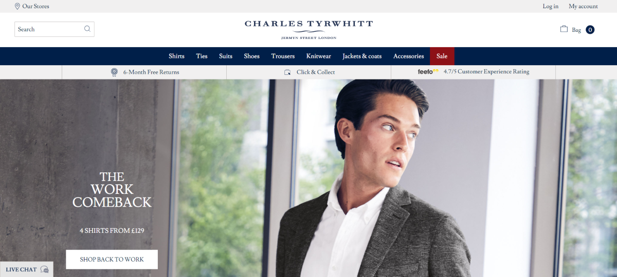 Screenshot of the Charles Trywhitt website - a British fashion brand for men. The main focus is men's shirts but they also sell suits for gents, ties and shoes.