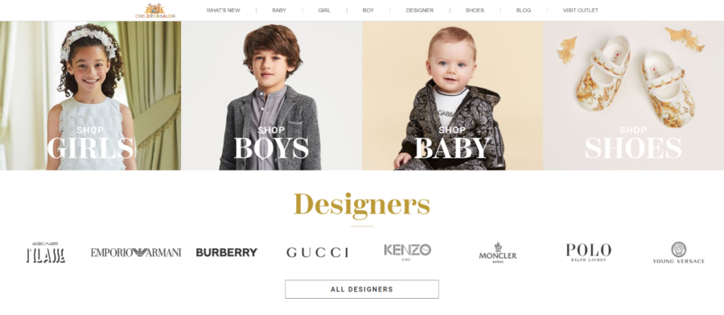 Screenshot of Childrensalon.co.uk. A designer label kids wear store, based in Cheshire UK.