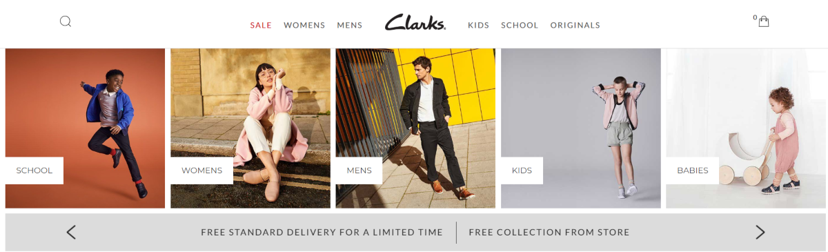 Screenshot of the Clarks homepage showing the shoe categories available. They're best known in the UK for quality shoes designed for kids and bespoke shoe fitting.