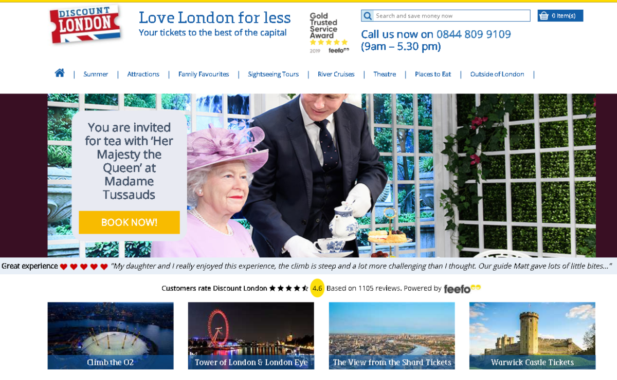 Screenshot of Discount London - an attraction discount program where tourists can save up to 25% on entry to popular London attractions, mini cruises on the River Themes, theatre deals and discounts at London restaurants