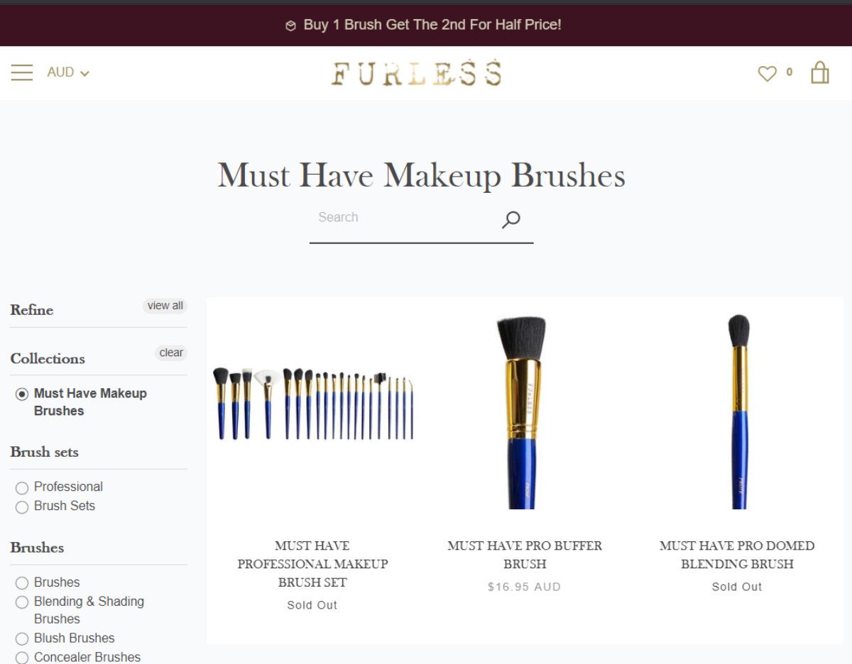 Screenshot of some best selling synthetic makeup brushes available on Furless Cosmetics website