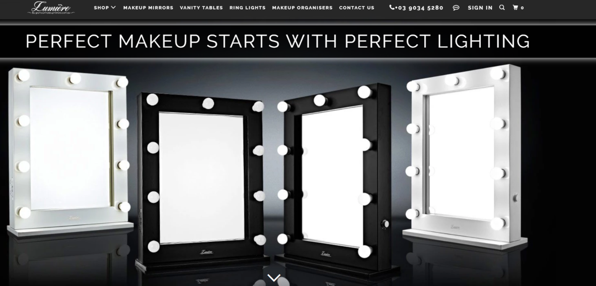 Screenshot of vanity mirrors with lighting available from Glamour Makeup Mirrors Australia. Hollywood inspired vanity mirrors, available in Melbourne, Australia