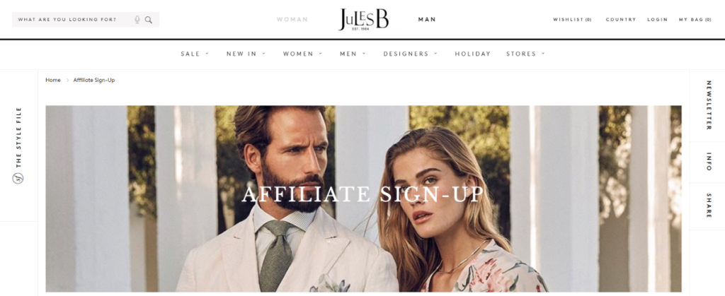Screenshot of the Jules B affiliate signup page