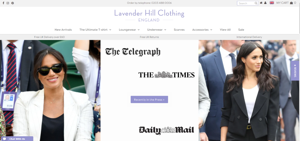Screenshot of the Lavender Hill Clothing brand showing their fashion categories and British press coverage the fashion store has had.