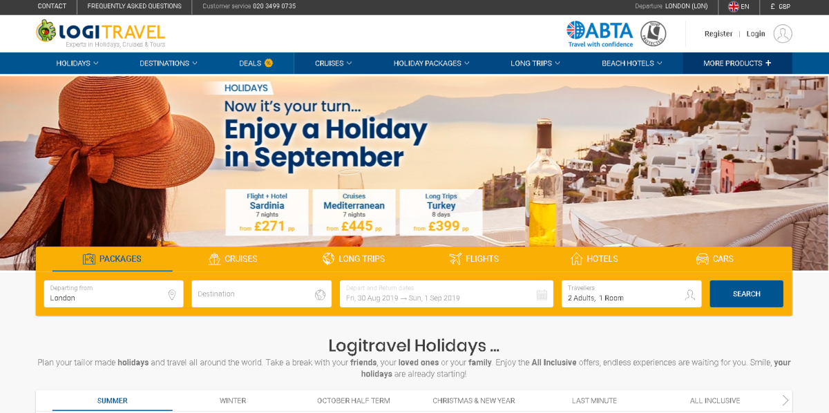 Screenshot of the Logi Travel website showing the types of holidays available including package holidays, cruises and long-haul international vacations